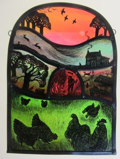 Stained Glass Portfolio - Tamsin Abbott ~ Autumn Bonfire