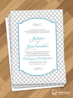 Moroccan Trellis Patterned Invitation - free to download and print. For customizations: printableinvitationkits[at]gmail[dot]com