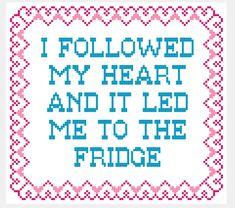Fridge Love Funny Cross Stitch Pattern