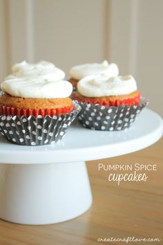 Cream Cheese Frosting 4 ounces softened butter 8 ounces softened cream cheese 2 cups powdered sugar 1 tsp vanilla extract 1. Beat together butter and cream cheese until smooth. 2. Add vanilla extract and beat a little more. 3. Slowly add sugar while beating and beat until desired consistency These Pumpkin Spice Cupcakes are everything fall is meant to be!