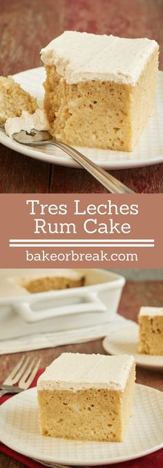 Tres Leches #rum Cake is an amazingly delicious, moist, flavorful cake. A favorite grown-up dessert! - Bake or Break