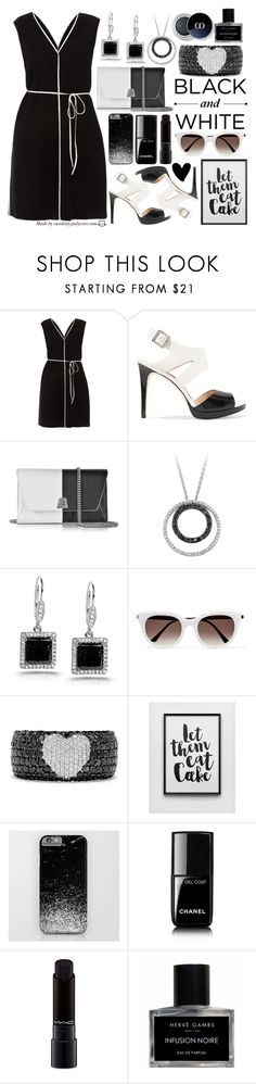 """""""Let Them Eat Cat - Black & White Style"""" by curekitty ❤ liked on Polyvore featuring Paule Ka, MICHAEL Michael Kors, Akris, Kobelli, Thierry Lasry, Effy Jewelry, Chanel, MAC Cosmetics, Hervé Gambs and white"""