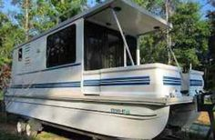 sampling of L'il Hobo Houseboats that are trailerable: We used to have a 20' pontoon boat and loved it other then it wasn't set up to be able to sleep overnight. We used to pull a tarp over the bimini top and
