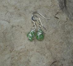 Small Lake Michigan beach glass earrings $12
