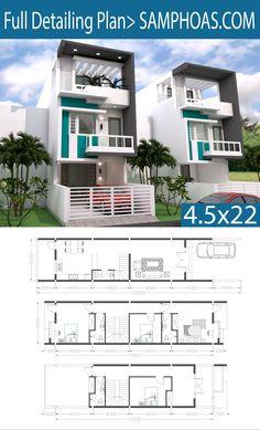 Sketchup 3 Story Narrow Home Plan - SamPhoas Plan Narrow House Designs, Narrow House Plans, Simple House Plans, Duplex House Plans, Bungalow House Design, Small House Design, Modern House Design, House Floor Plans, The Plan