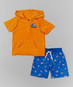 4d4e8fe4069d0 Quiksilver Orange Terry Cover-Up & Blue Swim Trunks - Infant & Toddler