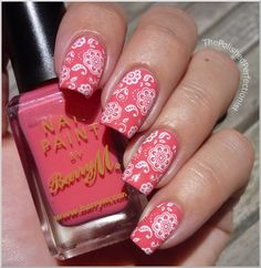 Fun Stamping: Base - Pink Flamingo from Barry M. Stamping - Konad Special Polish in White. Stamp - Konad plate M64.