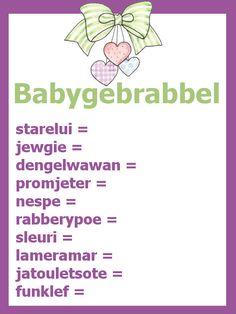 Babyshower spelletje : Babybrabbel (antwoorden op de site klik in het menu op 'leuke babyshower spelletjes' en naar beneden scrollen)