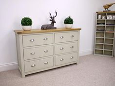 Aspen Painted Oak Sage Grey 6 Drawer Chest Of Drawers