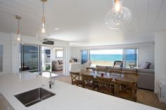 Nice open plan Lockwood home. All white painted interior on solid wood. Build Dream Home, Beach House Decor, Beach Houses, Home Decor, Wood Interiors, Concept Home, Open Plan Living, Home And Family, Family Homes