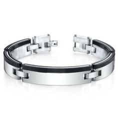 Mens Minimalist Single Black Stripe Mirror Finish Stainless Steel Bracelet Peora. $49.99