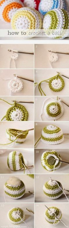 DIY Crochet Ball diy crochet craft crafts easy crafts craft idea diy ideas home diy easy diy home crafts diy craft crochet crafts diy crocheting Crochet Diy, Crochet Ball, Crochet Amigurumi, Crochet Motifs, Learn To Crochet, Crochet Crafts, Yarn Crafts, Crochet Stitches, Diy Crafts