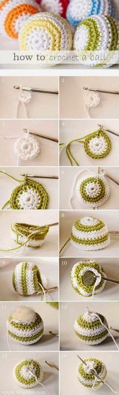 DIY Crochet Ball diy crochet craft crafts easy crafts craft idea diy ideas home diy easy diy home crafts diy craft crochet crafts diy crocheting Crochet Diy, Crochet Ball, Crochet Gratis, Crochet Amigurumi, Crochet Motifs, Learn To Crochet, Crochet Stitches, Crochet Ideas, Crochet Cat Toys