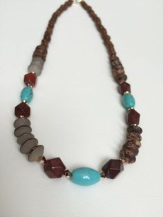 Long Wood Turquoise Necklace - Red Jasper Turquoise Necklace -...