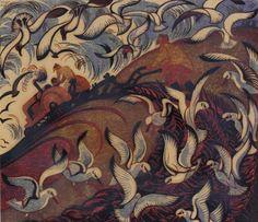 """Wings"" 1979 linocut by Sybil Andrews. Tags: Linocut, Cut, Print, Linoleum, Lino, Carving, Block, Woodcut, Helen Elstone, Fields, Farming, Sky, Birds, Gulls, Tractor."