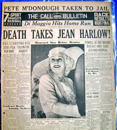 hollywood stars Death of Jean Harlow 1937 Golden Age Of Hollywood, Vintage Hollywood, Hollywood Stars, Classic Hollywood, Sun Tzu, Jean Harlow Death, Old Newspaper, Newspaper Headlines, Newspaper Article