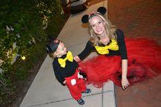 Mickey Mouse costumes--nailed it! #DIYHalloweenCostume #MickeyMouse #Toddler #DIY