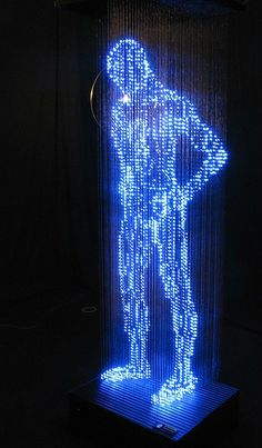 The Man With No Shadow: LED sculpture brings sci-fi to high art Light Art Installation, Art Installations, Projection Mapping, Bright Lights, Neon Lighting, Light And Shadow, Sculpture Art, Metal Sculptures, Abstract Sculpture