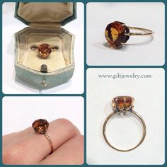 We are in love with this deep sunset-colored citrine in a c1900 10k gold mount. $365. Call to purchase. #giltjewelry #victorian #citrine #golden #beauty #pow