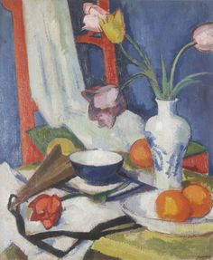 Still Life with Tulips and Oranges -  Samuel John Peploe The main subject of the painting is a messy table with vases of flowers, a bowl of oranges and a table cloth. Peploe has used paint and paint brush to Create a happy mood as the colours are jolly and playful