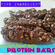 Ripped Recipes - Chocolate Peanut Butter Protein Bars - Haven't made my protein bars in a while so I whipped up a new variation real quick. Literally took 10 minutes including baking. Protein Bar Recipes, Protein Powder Recipes, Nut Recipes, Bakery Recipes, Protein Foods, Smoothie Recipes, Snack Recipes, Snacks, Protein Power