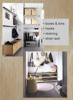 Mudroom Organization with Bins and Hooks