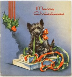 711 30s Scottie DOG Opens THE Gift Vintage Christmas Greeting Card | eBay