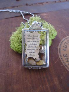 Seize this Very Minute.... Message in a Bottle Inspirational Locket Miniature Terrarium Beautiful Message