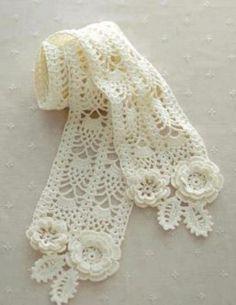 Knitting of a scarf hook Crochet Cowl Free Pattern, Baby Booties Knitting Pattern, Crochet Lace Edging, Crochet Coat, Crochet Quilt, Crochet Flower Patterns, Crochet Stitches Patterns, Crochet Scarves, Irish Crochet