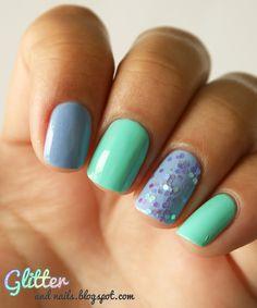 Glitter and Nails: Menthe, Ciel & Paillettes
