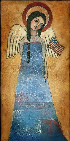 Americana Angel print on wood by Teresa Kogut