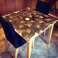 My kitchen table! Just a little stain art :)