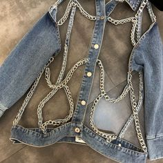 Crop Top Outfits, Cool Outfits, Custom Clothes, Diy Clothes, Denim Fashion, Fashion Outfits, Fashion Project, Look Cool, Aesthetic Clothes