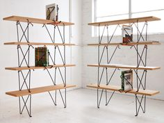 What about stacking benches to create shelves?   Holdfast – Clamp Furniture by Samuel Weller
