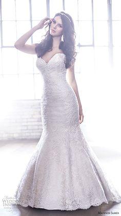 Madison James Bridal Fall 2015 Wedding Dresses | Wedding Inspirasi | Strapless, Lace Mermaid Bridal Gown With Sweetheart Neckline, Chapel Train