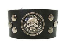 Mens Cuff Bracelet  Ghostrider Black Cuff  by ChristyKeysCreations, $30.00