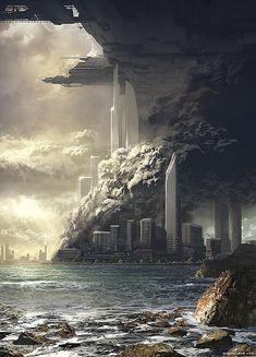 Paisajes postapocalípticos Fantasy City, Fantasy Places, Sci Fi Fantasy, Arte Sci Fi, Art Science Fiction, Science Art, Art Cyberpunk, Beautiful Landscape Paintings, Sci Fi City
