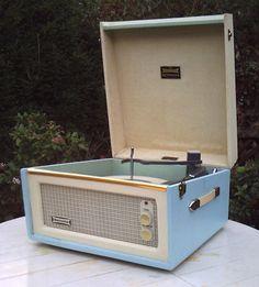 Restored 1960s Dansette Bermuda record player in original baby blue