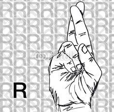 Bosquejo de lenguaje de signos gestos con las manos, Carta R.