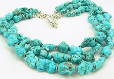 Turquoise Statement Necklace - Gemstone Necklace - Sterling Silver - Multi Strand Necklace - Artisan Jewelry. $95.00, via Etsy.