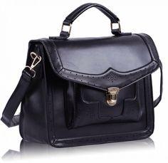 Black satchel front flap lock