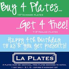 Buy 4 Dinner Plates, Get 4 Salad Plates FREE - Happy 4th Birthday! Expires 5.1.12 @ Midnight CST