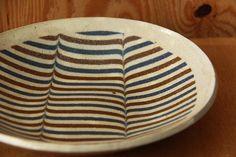 牧谷窯 練り込み7.5寸皿 波