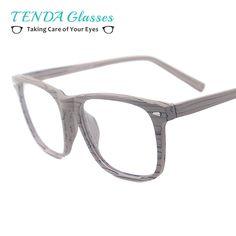 b854cf4436 Men Big Acetate Wooden Texture Prescription Glasses Square Bamboo Spectacles  For Optical Lenses