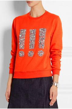 Bright orange sweatshirt and some flat backed crystals - cheaper than the $245 prince tag