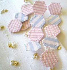 one inch hexagons in lovely striped cottons