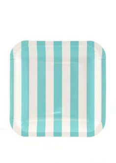 Square Candy Stripe Party Plates - Blue