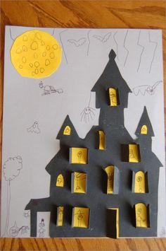 36 Easy Halloween Crafts for Kids Ideas - Craft and Home Ideas Awesome Halloween Crafts for Kids 96 when Life S In the Way Of Crafting and A Cute Haunted House Picture Craft 9 Theme Halloween, Halloween Crafts For Kids, Halloween Activities, Holidays Halloween, Craft Activities, Halloween Decorations, Preschool Halloween, Halloween Witches, Happy Halloween