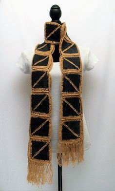 Extra Long Leather Scarf / Waist Sash / Belt / Head Wrap - reversible, crocheted patchwork. Beige Yarn & Black Leather by RezahDesignStudio on Etsy