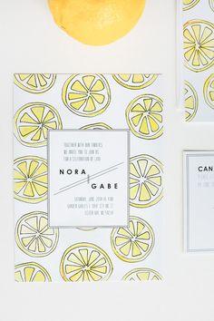 Lemon Slices Watercolor Wedding Invitation Suite